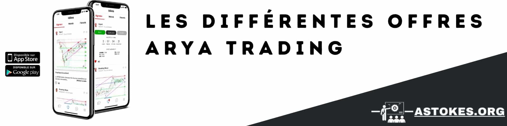 Les différentes offres ARYA Trading